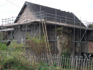 Photograph of Plas Uchaf with scaffold