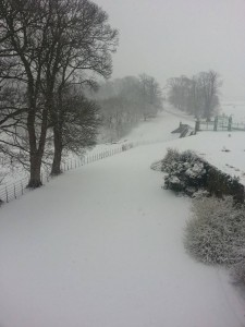 Snow in Mostyn on Friday 22nd March