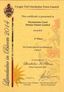 Llandudno in Bloom award cert - 23-09-14